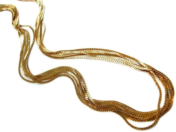 Vintage Raw Brass Trifari Foxtail Multi Strand Necklace (1x) (24 inches) (C636)