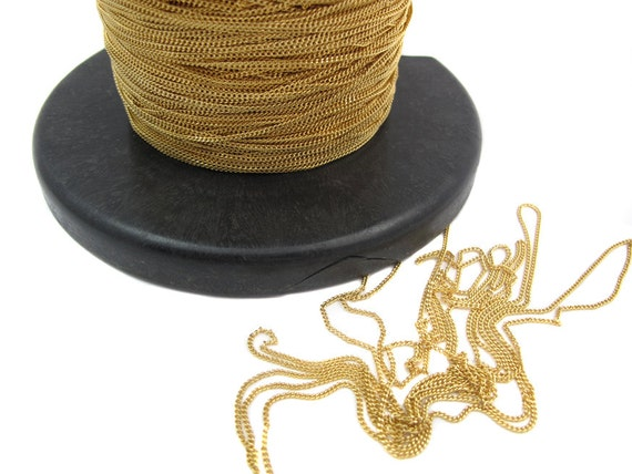 Dainty Shiny Gold Plated on Brass Curb Chain (4 feet)  (C923-C)