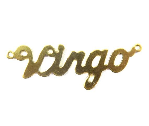 Brass Astrological Name Plate Pendants - Virgo - (2X) (A616-A)