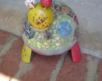 Bobble Head Stained Glass Mosaic Turtle