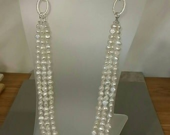Triple Strand Genuine Freshwater Pearls and Chain Long Necklace