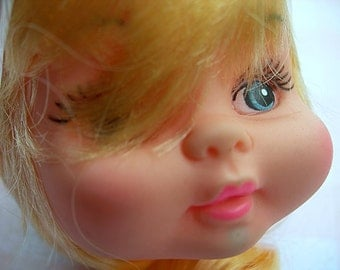 Vintage Plastic Doll Head blonde, blue eyes, pink lips and pink bow NEW in package