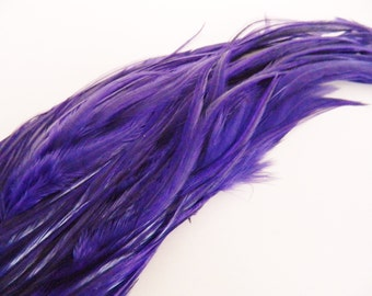 6 PURPLE Hair Feathers, Thick Feather Hair Extension, 9 to 11 Inches LONG