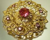 Vintage Art Deco 1930s/ 1940s Czech style, filigree and pink paste/ glass brooch / pin - jewelry jewellery