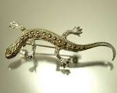 Vintage / estate 1950s chrome plated and marcasite, gecko lizard costume brooch pin - jewelry / jewellery