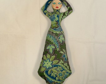 11 in. Sweet Green Paisley Goddess cloth art doll form w/face cab You finish her Bead Decorate