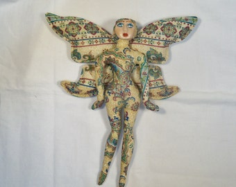 Elegant Metallic Paisley FAIRY cloth art doll form w/face cab 10 in. tall You finish her Bead Decorate