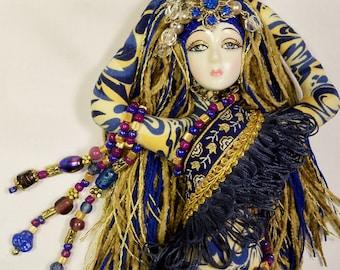 OOAK Glitzy Gypsy Beaded cloth Art Doll 11 in. tall plus 2 in. beaded dangle  Fantasy Goddess