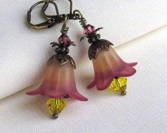 Ombre Lucite Flower Earrings, Swarovski Crystals, Antique Brass Leverback Earwires, Warm Fall Floral Jewelry