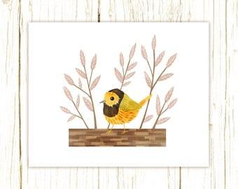 Hooded Warbler Print -- bird art --blue bird art 52 birds stephanie fizer coleman illustration