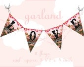 ART TEA LIFE Love Garland Banner Collage Sheet Digital File Clip Art Card Making Gift tags Invitations decoupage valentine heart flags