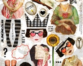 ART TEA LIFE See Beauty Collage 2 Sheet Set Paper Doll Parts digital file altered art scrapbook journal page decoupage clip art