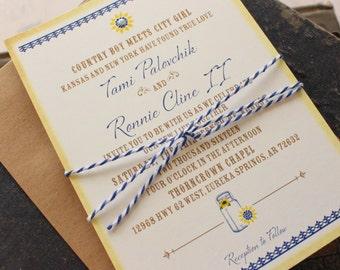 Rustic Typography Wedding Invitation (Mason Jars) - Design Fee