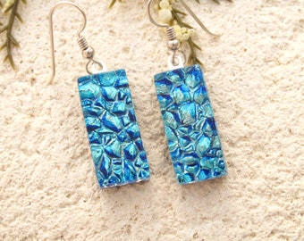 Icy Aqua Silver Blue Dangle Earrings, Dichroic Glass Earrings, Fused Glass Jewelry, Glass Earrings, Dichroic Jewel, Sterling , 121215e100