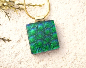 Petite Emerald Necklace, Dichroic Pendant, Fused Glass Jewelry, Dichroic Jewelry, Gold Necklace, Green Glass Jewelry, 030216p101