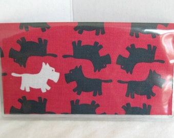 Scottie Dog Checkbook Cover - Dog Cash Holder - Scottish Terrier Checkbook Holder - Works with Duplicate Checks  RED BLACK Scottish Terriers