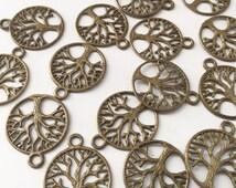 40 Brass Tree Charm Pendants