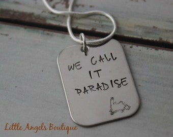 "Newfoundland Map "" We call it paradise "" Hand stamped keychain newfoundlanders newfie"