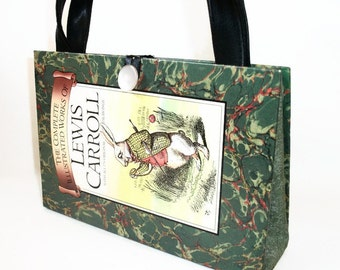 Book Purse Complete Illustrated Works of Lewis Carroll, Recycled Upcycled Handbag Clutch