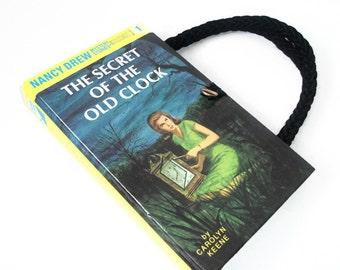 Nancy Drew Book Purse The Secret of the Old Clock Vintage Handbag Upcycled Book Bag