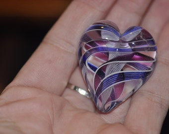 Large Heart Paperweight with White Blue Black and Plum Swirls