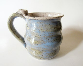 Wavy Mug - Ice Blue Speckled Mug - 14 oz  Coffee Cup - Ready to Ship Ceramic Cup