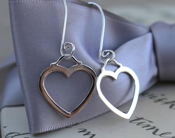 Sterling Heart earrings, Silver hearts on swirly Sterling earwires