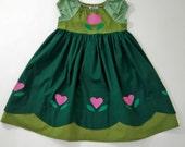 Little Anna Green Peasant Dress