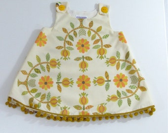 Modern Folk Baby or Toddler Girls Dress Sizes 18M, 2T & 3T | Gold, Mustard, Orange Floral Tole Scandinavian Folk Art Vintage Frock