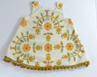 Modern Folk Baby or Toddler Girls Dress Sizes 2T & 3T | Gold, Mustard, Orange Floral Tole Scandinavian Folk Art Vintage Frock
