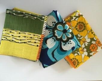 Retro fat quarter fabric set of three 1970's floral