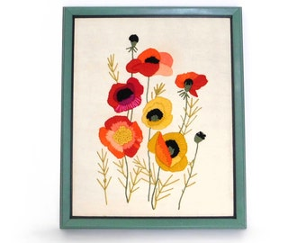 Mid Century Framed Crewel Embroidery Poppies- 18 x 22 Vintage Floral Wall Art Completed Crewel Flowers Red Orange Yellow Green