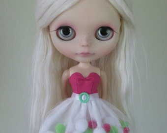 Pink and Green pom-pom dress for Blythe and Pullip