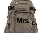 Backpack, Bride To Be Gift, Mr. & Mrs., Honeymoon Luggage, Wedding Shower, Canvas Backpack, Rucksack, Lightweight Backpack, Travel Bag