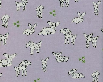 Cotton + Steel Clover - little lambs grey - fat quarter