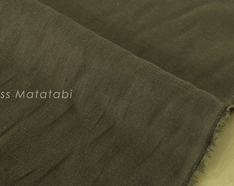 Japanese Fabric 100% brushed linen - dark olive green -  50cm