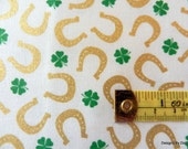 "One Fat Quarter Cut Quilt Fabric, St. Patrick's Day, Shamrocks & horseshoes, ""Lucky Clovers"", Maria Kalinowski, Kanvas, Sewing Supplies"