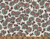 Vintage Quilting Cotton - Aqua & Red Floral - 1940s