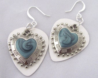 Heart Earrings Blue Earrings Guitar Pick Earrings Valentine's Day Silver Hearts Gift Ideas for Girlfriend Gift Idea for Wife Unconventional