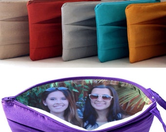 "Photo Clutches For Bridesmaid- Pleated Purse with Picture Lining- Size 4""x 8"""