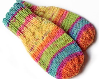 Striped Unisex Thumbless Baby Mittens. Hand Knit Baby Mitts Without Thumbs. No String Infant Hand Warmers. Cordless No Thumb Mittens