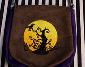 Pouch Spare Pocket Embroidery Moon Tree Crow Silhouette