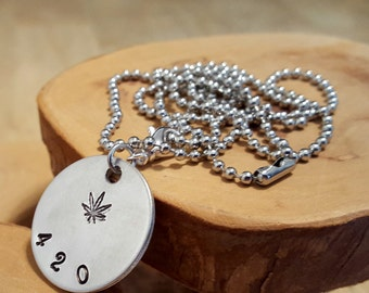 420 Botanical mellow aluminum hand stamped pendant necklace with ball chain in whatever length you want