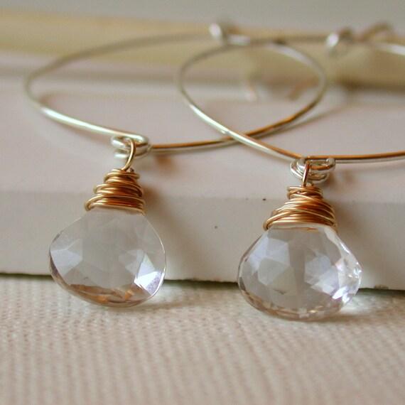 Crystal Quartz Hoop Earrings. Hammered Hoop Earrings. Round Hoop Earrings. Crystal Clear Drops. Dangle Earring. Drop Earring. Artisan.