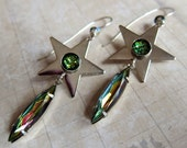 Starbright - Iridescent glass and Silver Star Earrings