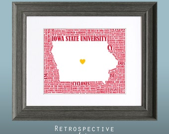 Iowa State University Cyclones Word Art Map Printable