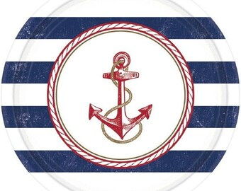 Anchors Aweigh Lunch/DinnerPaper Plates-Package of 8. NEW- 10.5in Round