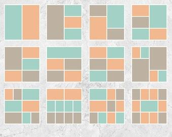 "Storyboard Templates, Blog Board Templates, Digital Collage Templates, Photo Collage Templates - 12""x12"" - S202"