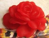 Scarlet Red Lucite Large Rose (1) b1594