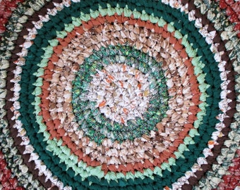 Rustic Decor - Rag Rug - Crochet - Evergreen - Russet - Brown - Copper - Earth - Country Home - Reversible - Green Living - Throw - Area